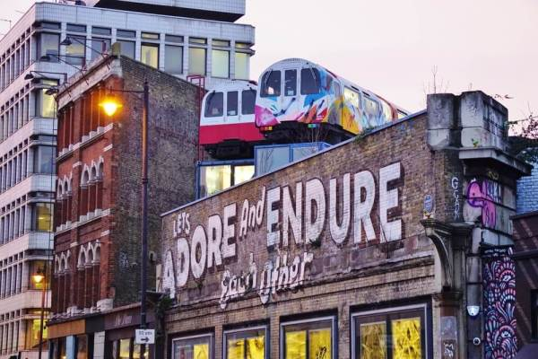 Shoreditch trains on the roof