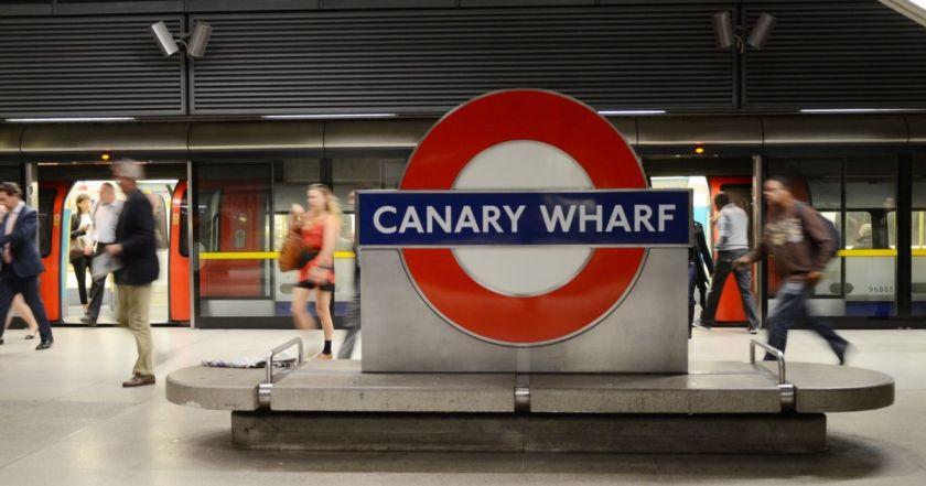 Canary Wharf train label