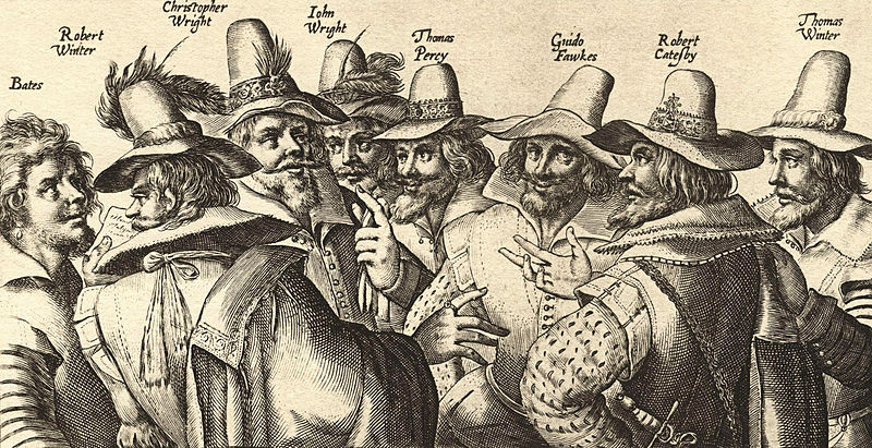 Guy Fawkes and the others plotters. Ancient print