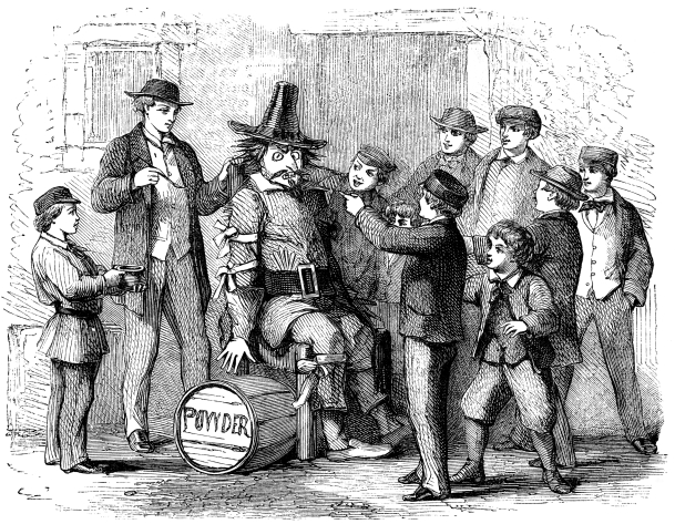 An engraved illustration image of boys with a Guy Fawkes dummy preparing to celebrate the 5th of November Gunpowder plot on Bonfire Night from a Victorian book dated 1870