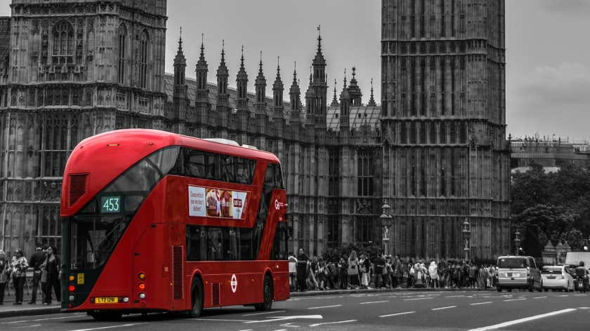 Red Double Decker nearby Big Ben