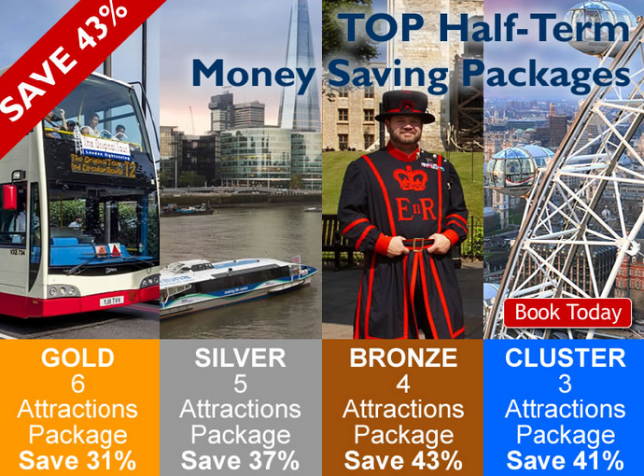 Medley of bus, boat in the Theme, beefeater, Tower of London and London Eye. Discount label