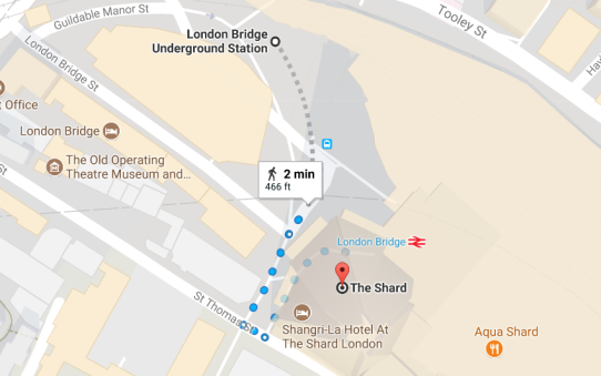 Map to the Shard London