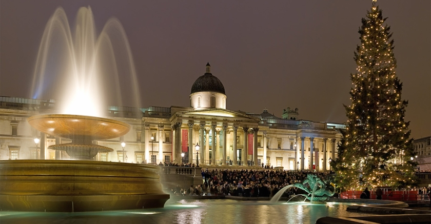 Trafalgar Square e National Gallery a Natale