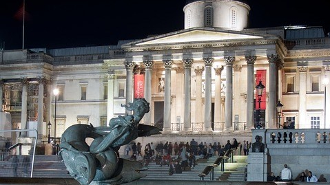 National Gallery a Trafalgar Square by Night