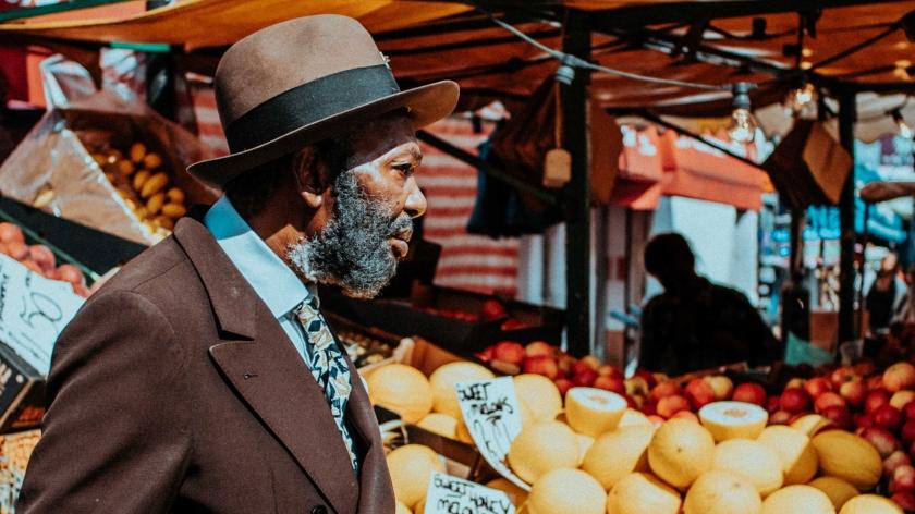 Old black man in Brixton Market_London